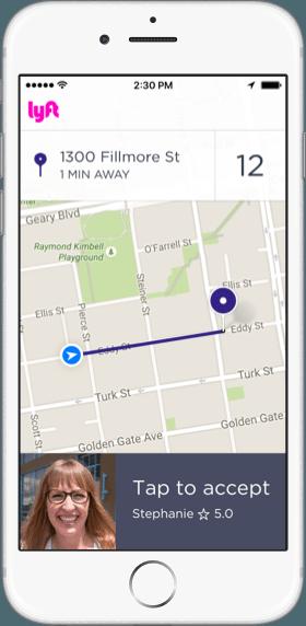 In-app screenshot of accepting a ride request